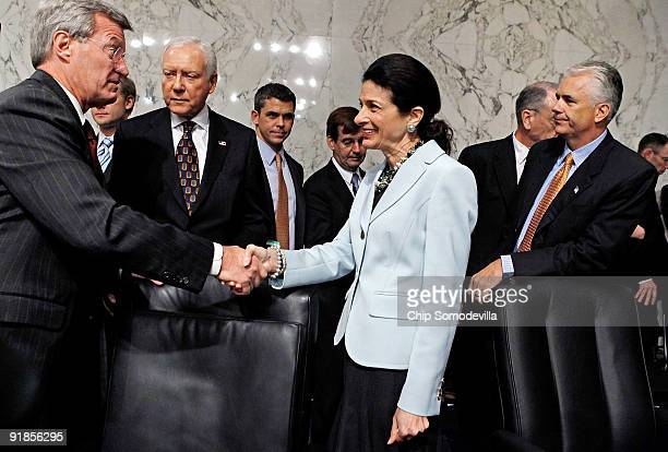 Senate Finance Committee Chairman Max Baucus thanks Sen Olympia Snowe for voting in favor of health care reform legislation as committee Republicans...