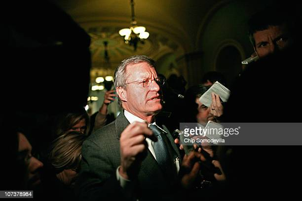 Senate Finance Committee Chairman Sen Max Baucus arrives for the Senate Democratic Caucus luncheon in the US Capitol December 7 2010 in Washington DC...