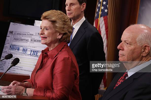 Senate Finance Committee members Sen Debbie Stabenow Sen Ron Wyden and Sen Ben Cardin hold a news conferene to call on Republicans to hold a vote on...