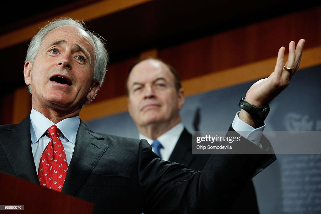 Senate Financial Services Committee members Sen. <a gi-track='captionPersonalityLinkClicked' href=/galleries/search?phrase=Bob+Corker&family=editorial&specificpeople=3986296 ng-click='$event.stopPropagation()'>Bob Corker</a> (R-TN) (L) and Sen. <a gi-track='captionPersonalityLinkClicked' href=/galleries/search?phrase=Richard+Shelby&family=editorial&specificpeople=529578 ng-click='$event.stopPropagation()'>Richard Shelby</a> (R-AL) hold a news conference about a proposed amendment to the financial services reform legislation before the Senate at the U.S. Capitol May 6, 2010 in Washington, DC. Senate Republicans are unified in the opposition to the bill and the powers it would give a proposed consumer protection agency within the Fed.