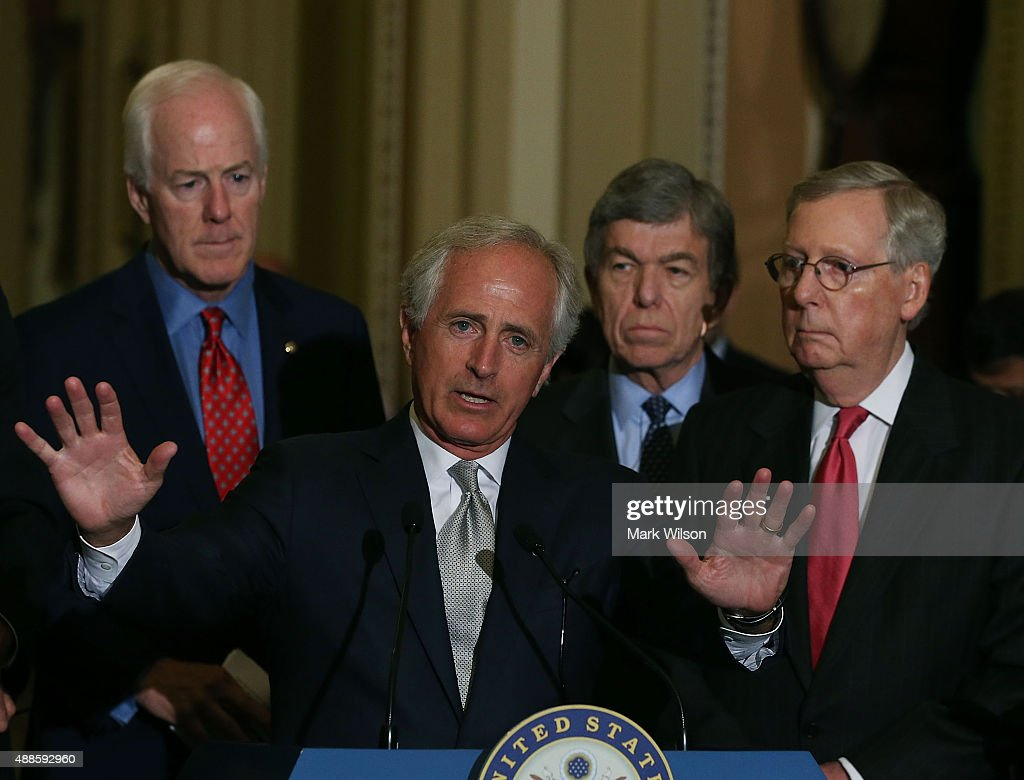 Senate Foreign relations Chairman Bob Corker speaks while flanked by Senate Majority Leader Mitch McConnell Sen John Cornyn and Sen Roy Blunt during...