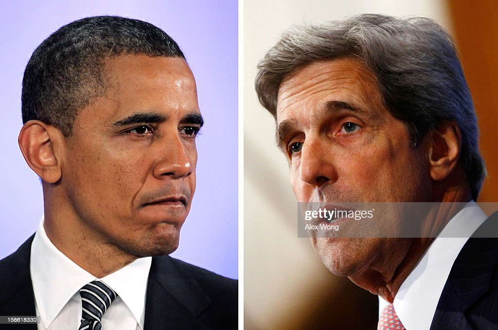 In this composite image a comparison has been made between US President Barack Obama (L) and John Kerry. John Kerry. Obama named Sen. John Kerry (D-MA) as the next US Secretary Of State replacing outgoing Secretary of State Hillary Clinton. WASHINGTON - JULY 29: Senate Foreign Relations Chairman John Kerry (D-MA) speaks at the National Press Club July 29, 2009 in Washington, DC. Kerry spoke on the topic of 'America and China on the Road to Copenhagen: Toward a Climate Partnership', during his remarks.