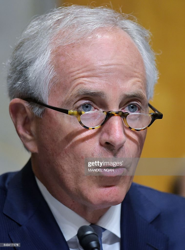 Senate Foreign Relations Committee Chair Senator Bob Corker, R-TN, speaks during a committee hearing on global efforts to defeat ISIS on Capitol Hill in Washington, DC on June 28, 2016. / AFP / MANDEL