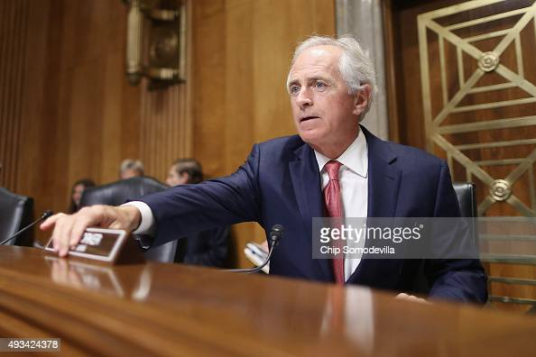 Senate Foreign Relations Committee Chairman Bob Corker arrives for the start of a hearing titled 'The Persistent North Korea Denuclearization and...