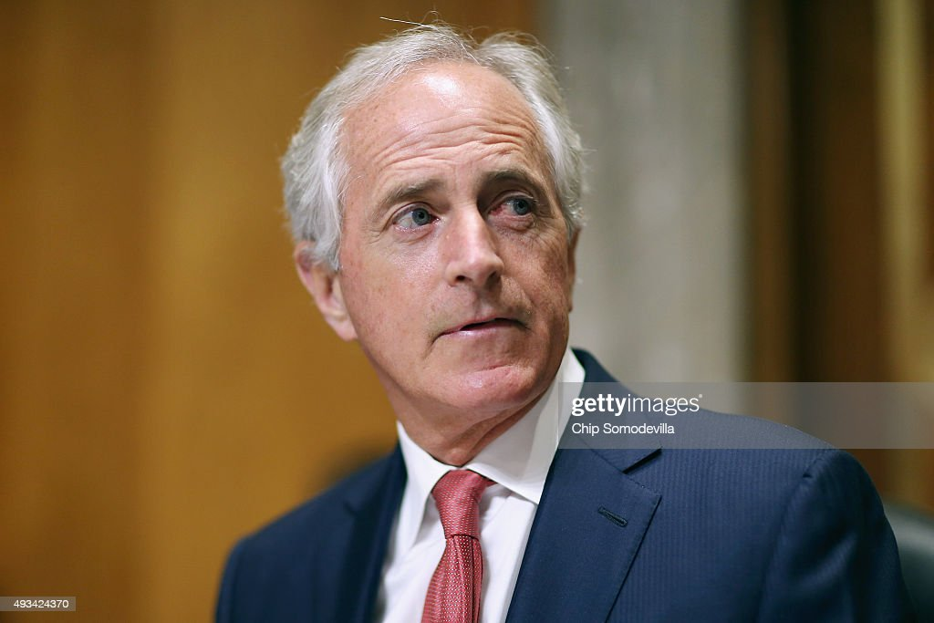 Senate Foreign Relations Committee Chairman Bob Corker delivers opening remarks at the start of a hearing titled 'The Persistent North Korea...