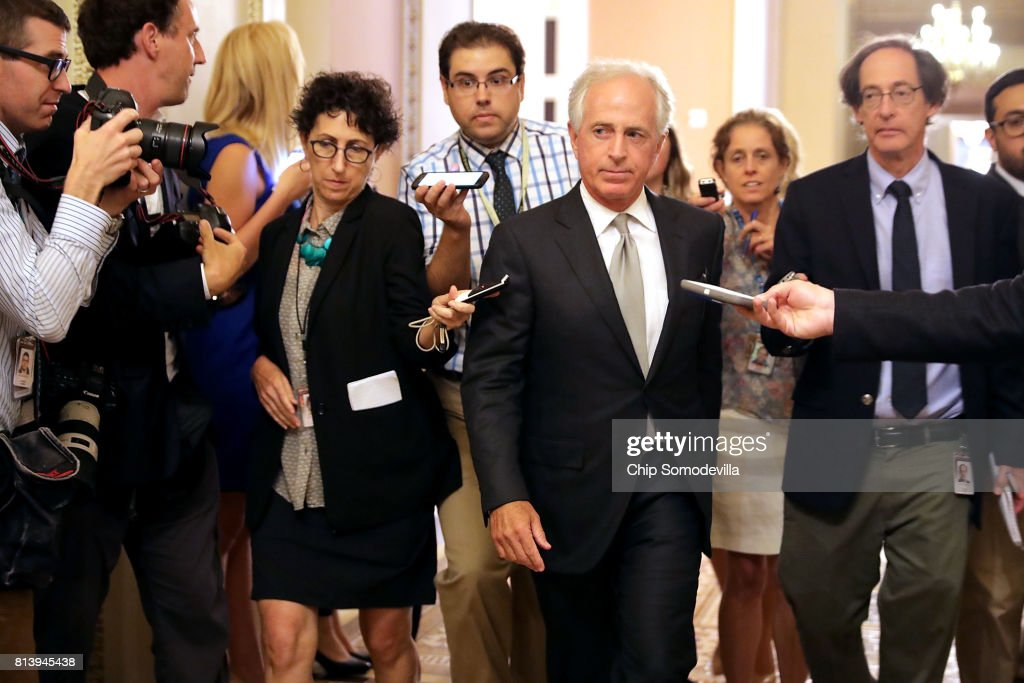 Senate Foreign Relations Committee Chairman Bob Corker (R-TN) leaves a meeting where a new version of a GOP healthcare bill was unveiled to Republican senators at the U.S. Capitol July 13, 2017 in Washington, DC. The latest version of the proposed bill aims to repeal and replace the Affordable Care Act, also knows as Obamacare.