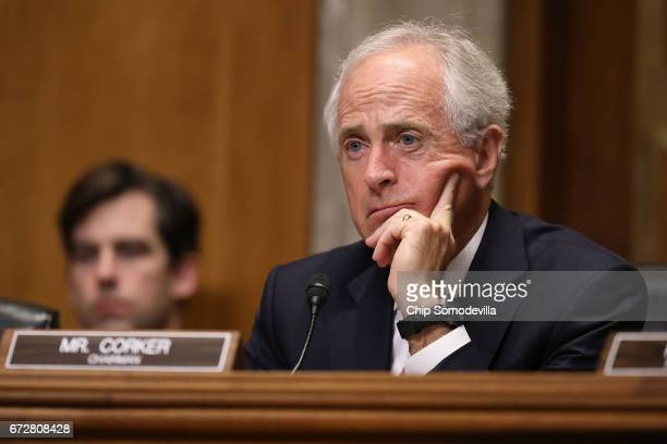 Senate Foreign Relations Committee Chairman Bob Corker listens to witnesses during a committee hearing about Libya in the Dirksen Senate Office...