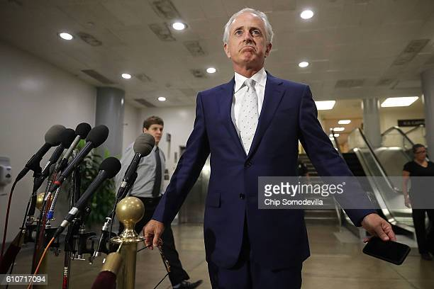 Senate Foreign Relations Committee Chairman Bob Corker reacts to questions about a classified briefing he and other members of the Senate received...