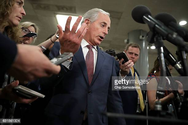 Senate Foreign Relations Committee Chairman Bob Corker talks to reporters following a closeddoor classified briefing from the heads of the US...
