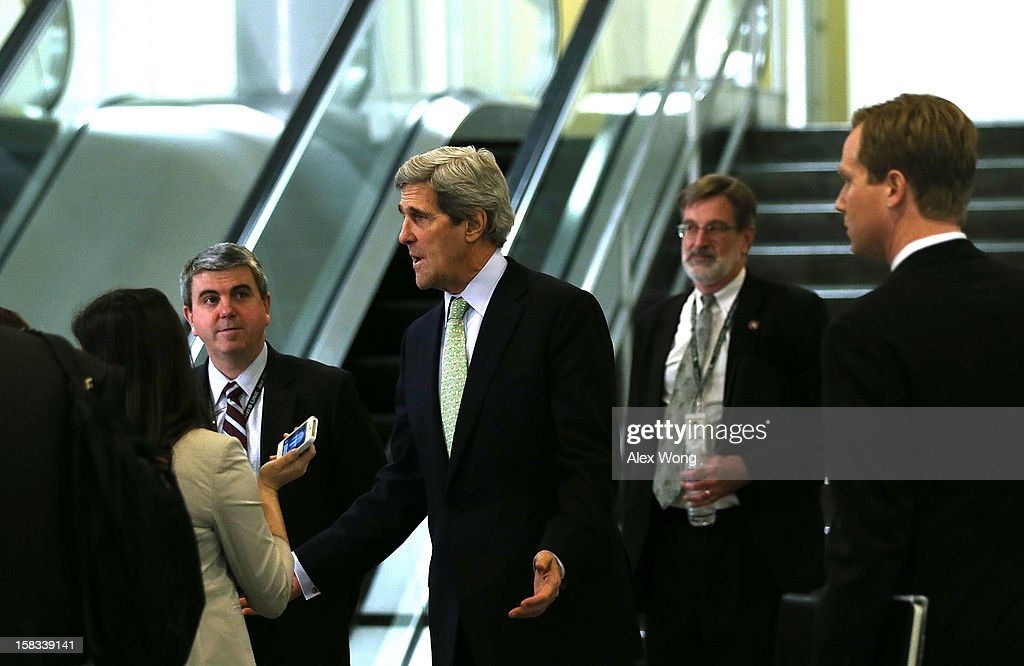 U.S. Senate Foreign Relations Committee Chairman <a gi-track='captionPersonalityLinkClicked' href=/galleries/search?phrase=John+Kerry&family=editorial&specificpeople=154885 ng-click='$event.stopPropagation()'>John Kerry</a> (D-MA) speaks to members of the media after leaving a closed-door briefing on the attacks in Benghazi, Libya, December 13, 2012 on Capitol Hill in Washington, DC. U.S. Ambassador to the United Nations Susan Rice, perceived as the top pick of the Obama Administration for Secretary of State, today withdrew her name from consideration amid criticism over her statements following the attacks on September 11 of this year.