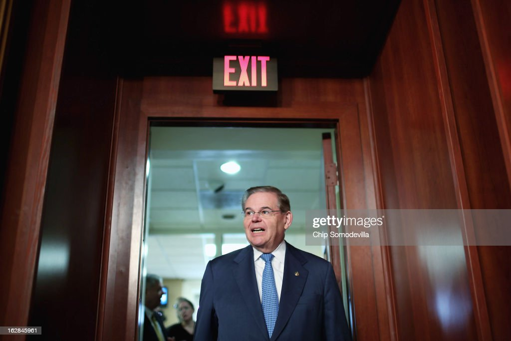 Senate Foreign Relations Committee Chairman Robert Menendez (D-NJ) arrives for a news conference at the U.S. Capitol February 28, 2013 in Washington, DC. On the eve of the American Israel Public Affairs Committee's Policy Conference, Menendez and a group of bipartisan senators are introducing a non-binding resolution urging that, 'if the Government of Israel is compelled to take military action in self-defense, the United States Government should stand with Israel and provide diplomatic, military, and economic support . . . in its defense of its territory, people, and existence.'