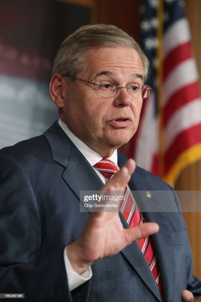 U.S. Senate Foreign Relations Committee Chairman <a gi-track='captionPersonalityLinkClicked' href=/galleries/search?phrase=Robert+Menendez&family=editorial&specificpeople=504931 ng-click='$event.stopPropagation()'>Robert Menendez</a> (D-NJ) holds a news conference after the senate voted 99-0 in favor of a resolution in support of Israel May 22, 2013 in Washington, DC. The resolution 'expresses concerns about the Iranian nuclear threat and urges that if Israel is compelled to take action in self-defense, the United States will stand with Israel and provide diplomatic, military, and economic support in its defense of its territory, people, and existence.'