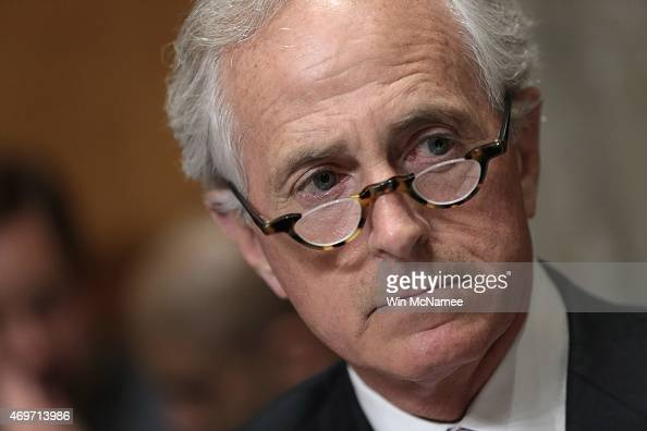 Senate Foreign Relations Committee Chairman Sen Bob Corker makes opening remarks during a committee markup meeting on the proposed nuclear agreement...