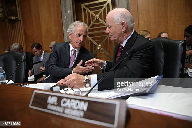 Senate Foreign Relations Committee Chairman Sen Bob Corker shakes hands with ranking member Sen Ben Cardin during a committee markup meeting on the...
