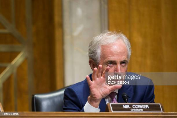 Senate Foreign Relations Committee chairman Sen Bob Corker speaks during a Senate Foreign Relations Committee examining David Friedman to be US...