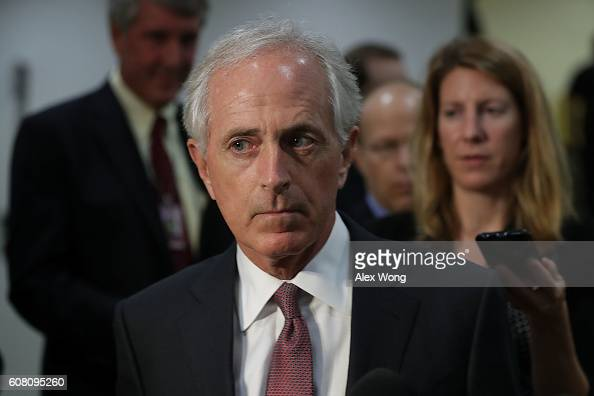 S Senate Foreign Relations Committee Chairman Sen Bob Corker speaks to members of the media at the Capitol September 19 2016 in Washington DC Senate...