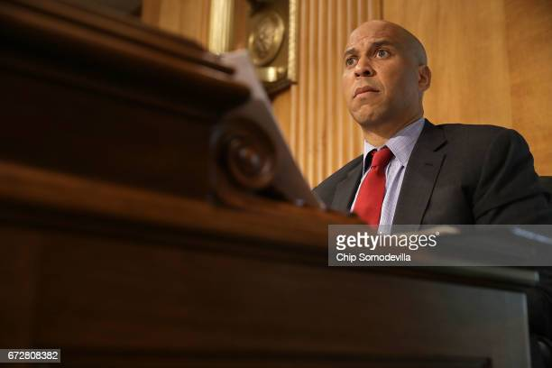 Senate Foreign Relations Committee member Sen Cory Booker participates in a committee hearing about Libya in the Dirksen Senate Office Building on...