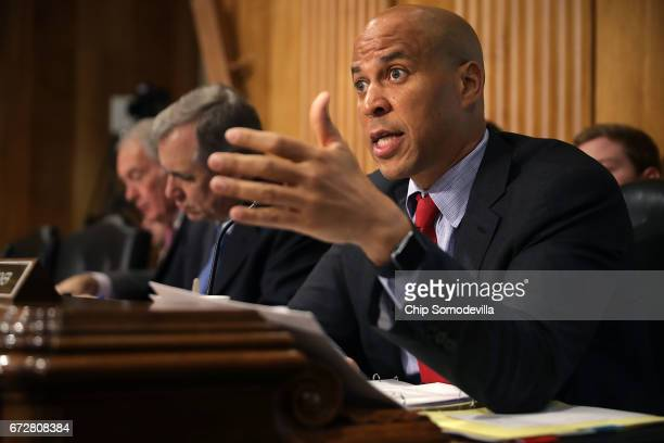 Senate Foreign Relations Committee member Sen Cory Booker questions witnesses during a committee hearing about Libya in the Dirksen Senate Office...