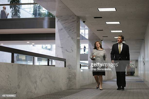 Senate Foreign Relations Committee member Sen Jeff Flake arrives for a briefing about the aftermath of last week's terrorist attacks on Paris and the...