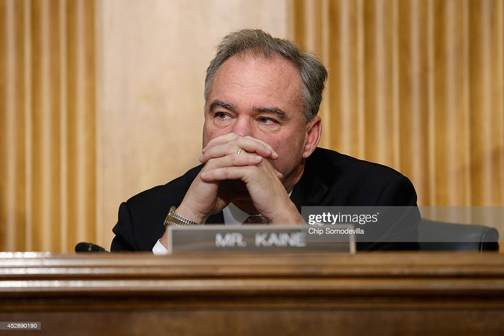 Senate Foreign Relations Committee member Sen Tim Kaine hears testimony from State and Treasury department officials about the ongoing P51 talks with...