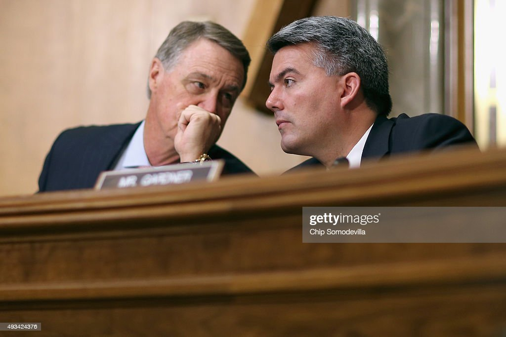 Senate Foreign Relations Committee members Sen. <a gi-track='captionPersonalityLinkClicked' href=/galleries/search?phrase=David+Perdue&family=editorial&specificpeople=4276858 ng-click='$event.stopPropagation()'>David Perdue</a> (R-GA) (L) and Sen. <a gi-track='captionPersonalityLinkClicked' href=/galleries/search?phrase=Cory+Gardner&family=editorial&specificpeople=6977442 ng-click='$event.stopPropagation()'>Cory Gardner</a> (R-CO) a hearing titled, 'The Persistent North Korea Denuclearization and Human Rights Challenge,' in the Dirksen Senate Office Building on Capitol Hill October 20, 2015 in Washington, DC. The committee heard testimony from Special Envoy for North Korean Human Rights Issues Robert King and Deputy Assistant Secretary of State for Korea And Japan Sung Kim.