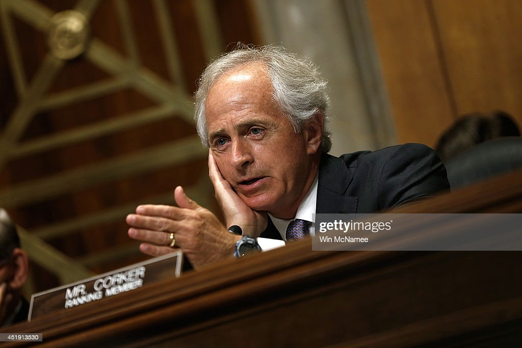 Senate Foreign Relations Committee ranking member Sen. <a gi-track='captionPersonalityLinkClicked' href=/galleries/search?phrase=Bob+Corker&family=editorial&specificpeople=3986296 ng-click='$event.stopPropagation()'>Bob Corker</a> (R-TN) speaks during a hearing July 9, 2014 in Washington, DC. The committee heard testimony on the topic of 'Russia and Developments in Ukraine.'