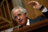 Senate Foreign Relations Committee ranking member Sen Bob Corker speaks during a hearing July 9 2014 in Washington DC The committee heard testimony...
