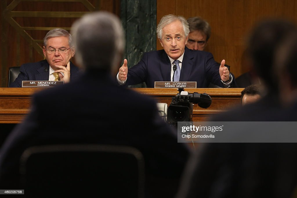 Senate Foreign Relations Committee ranking member Sen Bob Corker questions Secretary of State John Kerry during a hearing about an Authorization for...