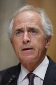 Senate Foreign Relations Committee ranking member Sen Bob Corker delivers opening remarks during a hearing about the ongoing P51 talks with Iran in...