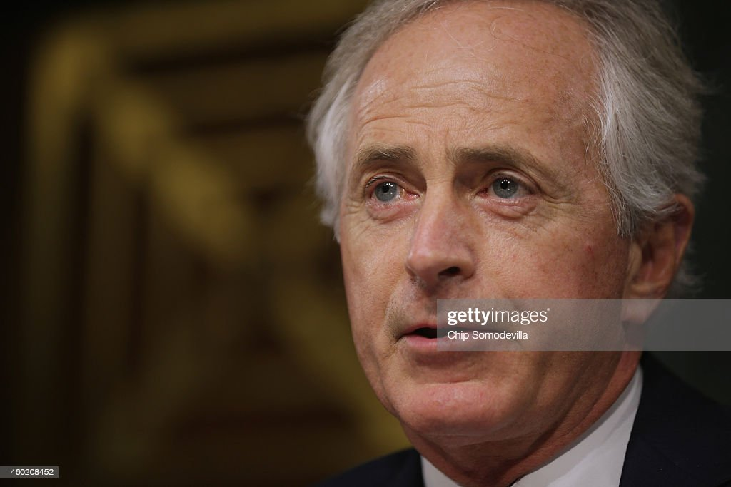 Senate Foreign Relations Committee ranking member Sen. <a gi-track='captionPersonalityLinkClicked' href=/galleries/search?phrase=Bob+Corker&family=editorial&specificpeople=3986296 ng-click='$event.stopPropagation()'>Bob Corker</a> (R-TN) delivers opening remarks during a hearing about a congressional Authorization for the Use of Military Force against the Islamic State, the violent jihadist group that has seized parts of Syria and Iraq, in the Dirksen Senate Office Building on Capitol Hill December 9, 2014 in Washington, DC. Secretary of State John Kerry debated back and forth with senators from both parties about the differences between what Congress is proposing for the AUMF and what the Obama Administration wants.