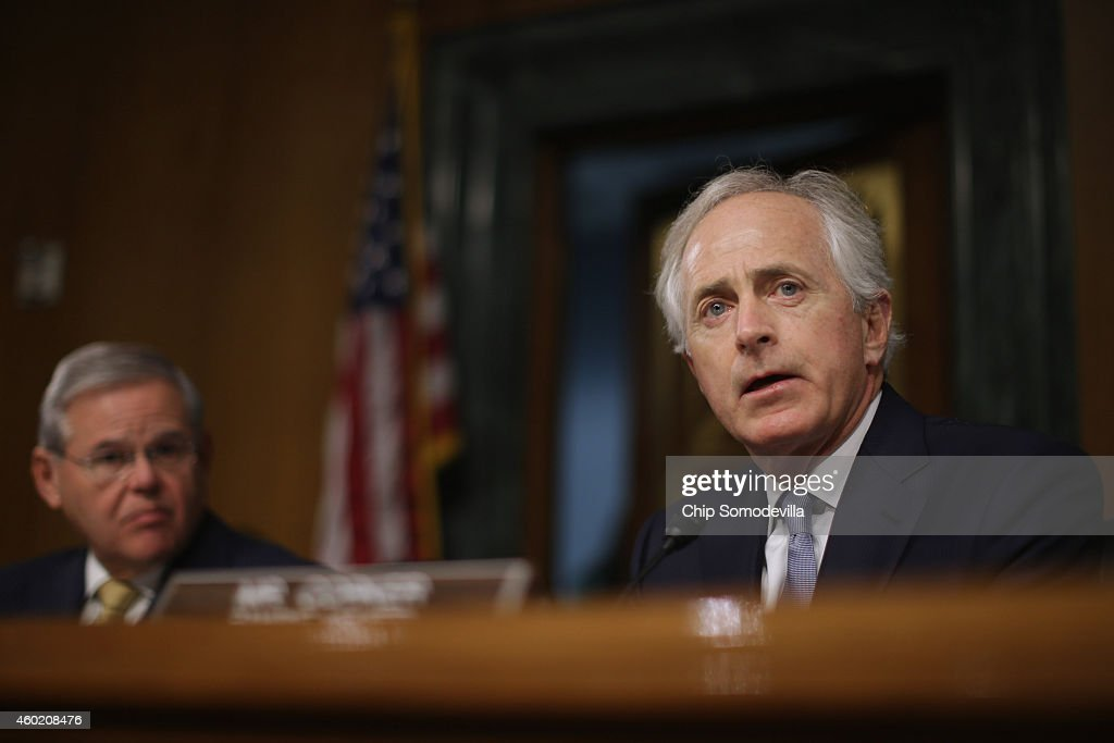 Senate Foreign Relations Committee ranking member Sen Bob Corker delivers opening remarks during a hearing about a congressional Authorization for...