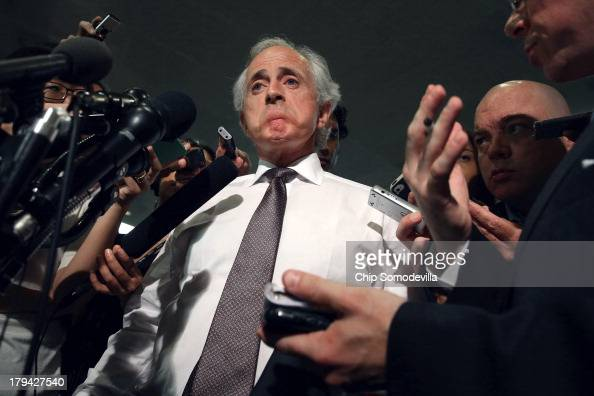 Senate Foreign Relations Committee ranking member Sen Bob Corker talks to reporters before heading into a membersonly classified briefing about Syria...