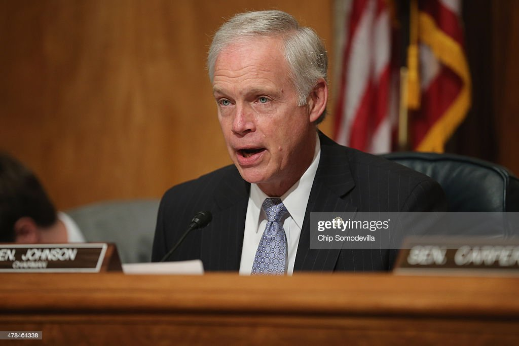 Senate Homeland Security and Governmental Affairs Committee Chairman <a gi-track='captionPersonalityLinkClicked' href=/galleries/search?phrase=Ron+Johnson+-+Politiker&family=editorial&specificpeople=12902569 ng-click='$event.stopPropagation()'>Ron Johnson</a> (R-WI) delivers opening remarks during a hearing about the recent OPM data breach in the dirksen Senate Office Building on Capitol Hill June 25, 2015 in Washington, DC. Office of Personnel Management Director Kathrine Archuleta said that the recent report that 18 million current, former government employees and people who applied for jobs had their personal data stolen is not confirmed and that only 4.2 million records had been breached.