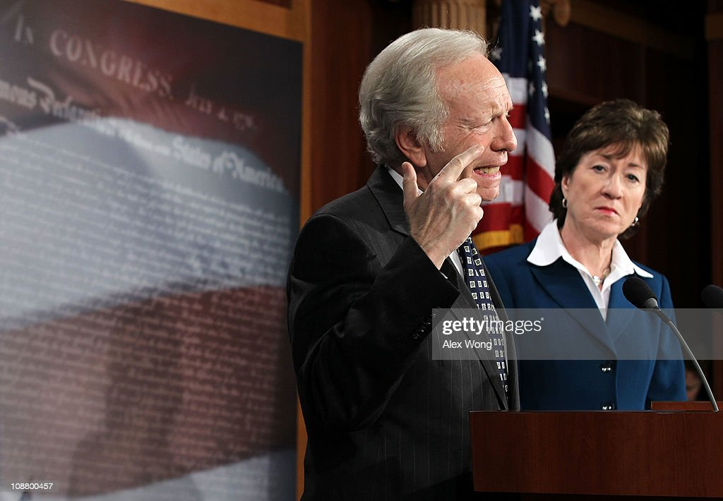 U.S. Senate Homeland Security Committee Chairman Sen. <a gi-track='captionPersonalityLinkClicked' href=/galleries/search?phrase=Joseph+Lieberman&family=editorial&specificpeople=236098 ng-click='$event.stopPropagation()'>Joseph Lieberman</a> (ID-CT) (L) and ranking member Sen. <a gi-track='captionPersonalityLinkClicked' href=/galleries/search?phrase=Susan+Collins+-+Politician&family=editorial&specificpeople=212962 ng-click='$event.stopPropagation()'>Susan Collins</a> (R-ME) (R) speak to the media during a news conference to release the Ft. Hood Report February 3, 2011 on Capitol Hill in Washington, DC. The report concluded that the shooting at Ft. Hood Army base that had left 13 dead and 32 wounded on November 5, 2009 could have been prevented.