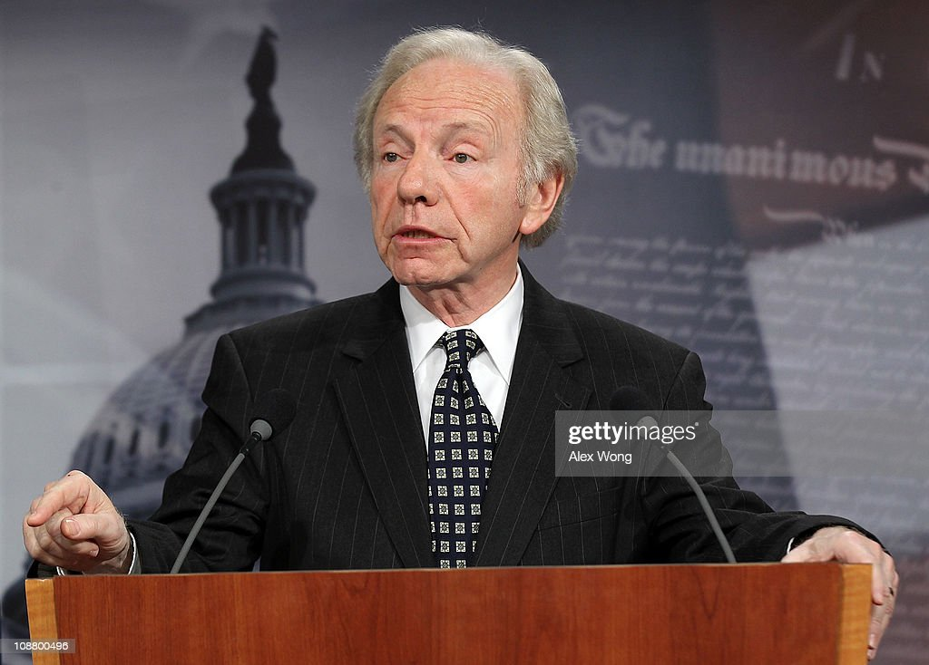 S Senate Homeland Security Committee Chairman Sen Joseph Lieberman speaks to the media during a news conference to release the Ft Hood Report...