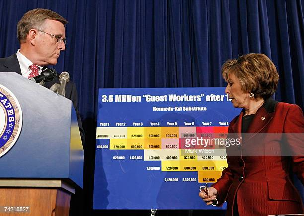 Senate Indian Affairs Chairman Byron Dorgan and Senate Environment and Public Works Chairwoman Barbara Boxer stand in front of a chart while speaking...