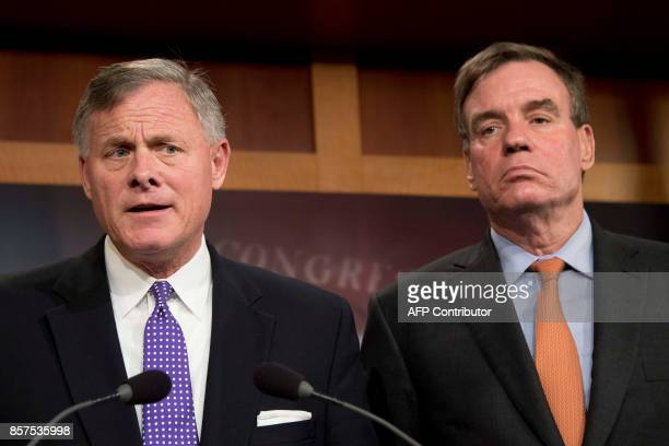 Senate Intelligence Chairman Richard Burr RNC and Senate Intelligence Vice Chair Mark Warner DVa hold a news conference on the status of the...