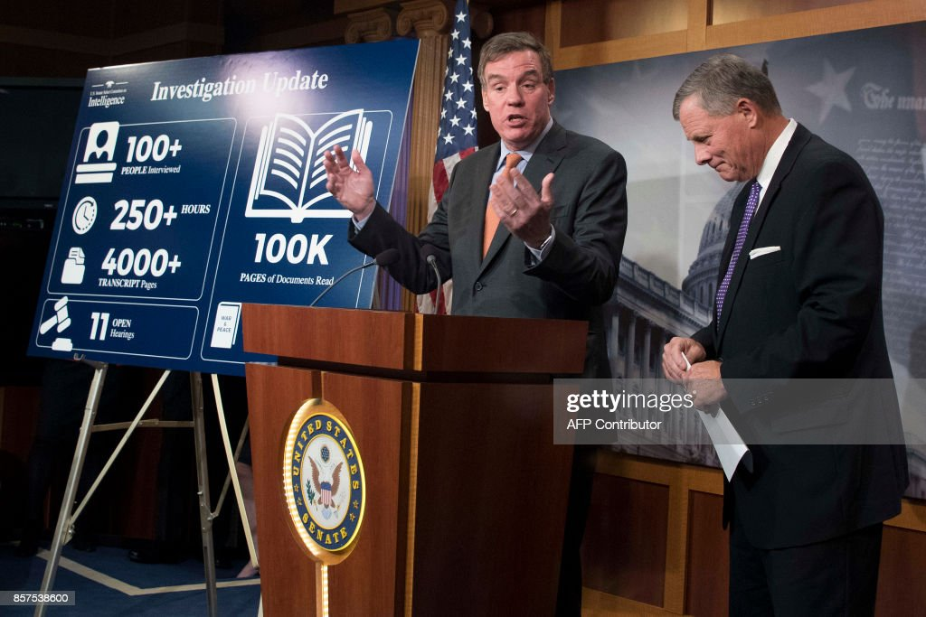 Senate Intelligence Chairman Richard Burr (L), R-N.C.; and Senate Intelligence Vice Chair Mark Warner, D-Va., hold a news conference on the status of the committee's inquiry into Russian interference in the 2016 election on Capitol Hill in Washington, DC, October 4, 2017. /