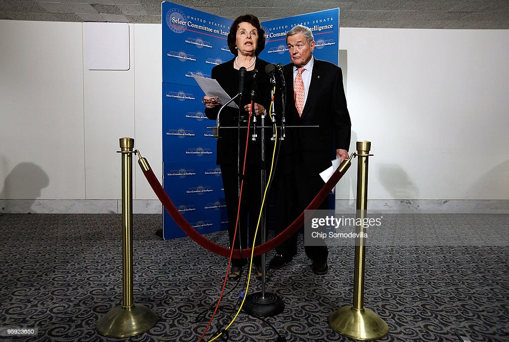 Senate Intelligence Committee Chairman <a gi-track='captionPersonalityLinkClicked' href=/galleries/search?phrase=Dianne+Feinstein&family=editorial&specificpeople=214078 ng-click='$event.stopPropagation()'>Dianne Feinstein</a> (D-CA) (L) and committee ranking member Sen. <a gi-track='captionPersonalityLinkClicked' href=/galleries/search?phrase=Kit+Bond&family=editorial&specificpeople=504967 ng-click='$event.stopPropagation()'>Kit Bond</a> (R-MO) answer reporters' questions following the committee's closed hearing into the attempted Christmas attack January 21, 2010 in Washington, DC. The committee held the hearing in an attempt to understand why U.S. intelligence agencies didn't uncover the plot by Umar Farouk Abdulmutallab, a Nigerian accused of attempting to take down the Northwest Airlines flight traveling from Amsterdam to Detroit on Christmas.