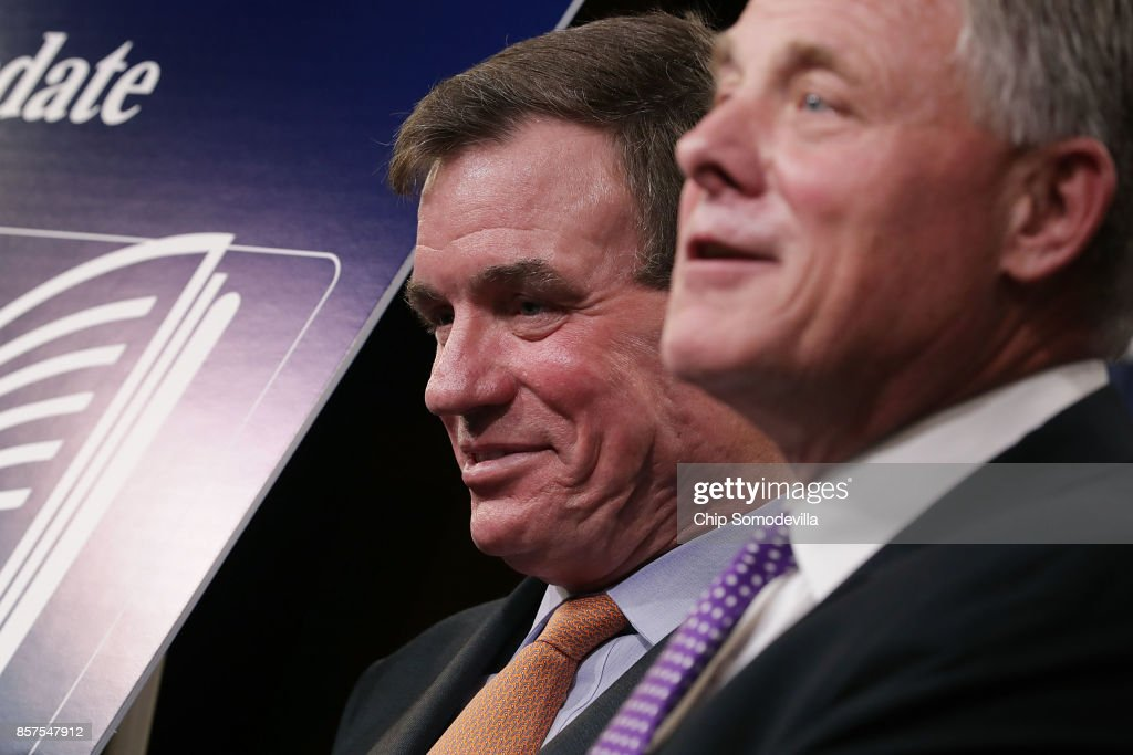 Senate Intelligence Committee Chairman Richard Burr (R-NC) (R) and committee Vice Chair Mark Warner (D-VA) hold a news conference on the status of the committee's inquiry into Russian interference in the 2016 presidential election at the U.S. Capitol October 4, 2017 in Washington, DC. The senators said their investigation is continuing and that they trust the conclusions of the Obama Administration's intelligence community assessment (ICA).
