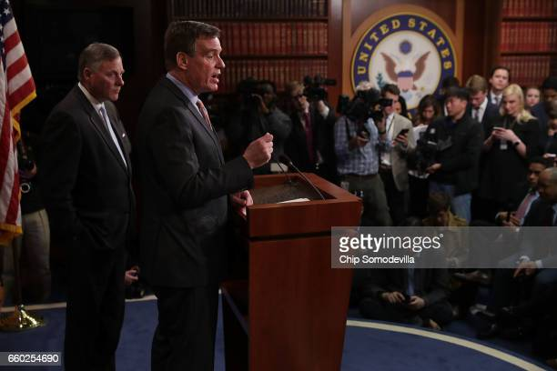 Senate Intelligence Committee Chairman Richard Burr and ranking member Sen Mark Warner hold a news conference about the committee's investigation...
