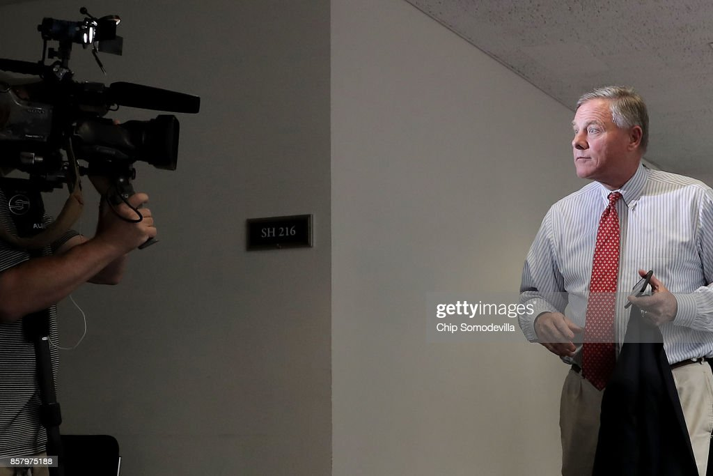 Senate Intelligence Committee Chairman Richard Burr (R-NC) (R) leaves a closed-door hearing in the Hart Senate Office Building on Capitol Hill October 5, 2017 in Washington, DC. None of the Intelligence Committee's members had anything to say to journalists about a report that Russian government-backed hackers stole U.S. secrets on how to penetrate foreign computer networks and protect against cyberattacks after a National Security Agency contractor put highly classified information on a home computer in 2015.