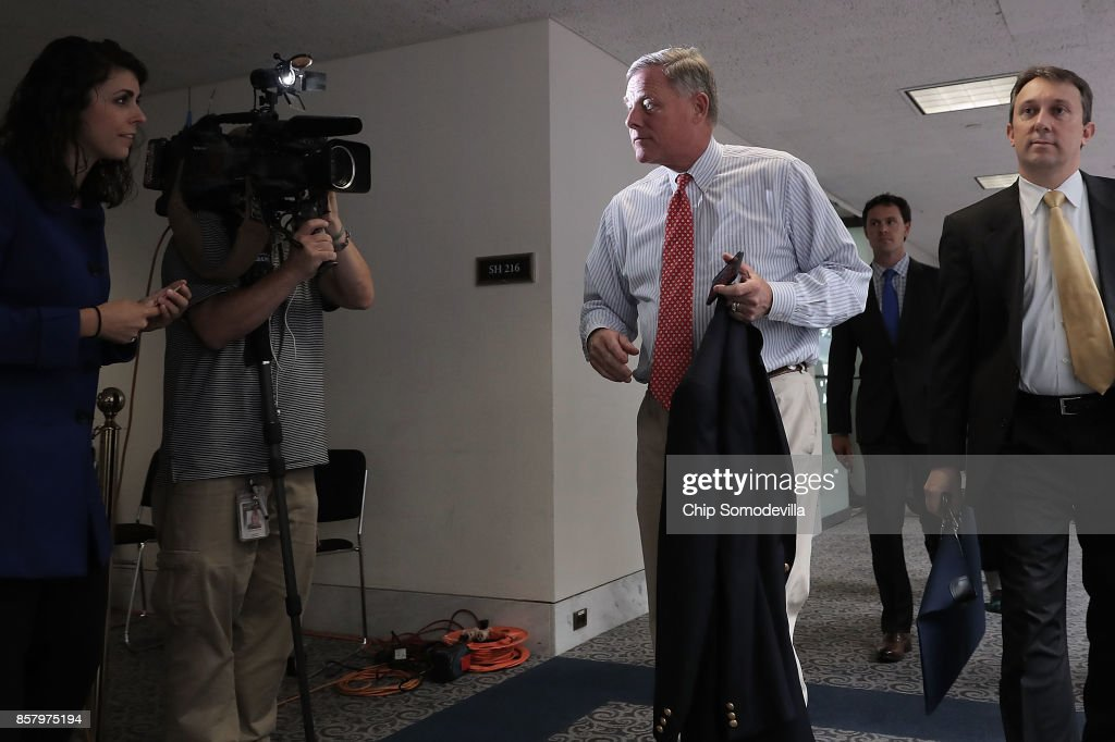 Senate Intelligence Committee Chairman Richard Burr (R-NC) (C) leaves a closed-door hearing in the Hart Senate Office Building on Capitol Hill October 5, 2017 in Washington, DC. None of the Intelligence Committee's members had anything to say to journalists about a report that Russian government-backed hackers stole U.S. secrets on how to penetrate foreign computer networks and protect against cyberattacks after a National Security Agency contractor put highly classified information on a home computer in 2015.