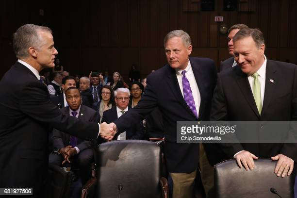 Senate Intelligence Committee Chairman Richard Burr welcomes Central Intelligence Agency Director Mike Pompeo and actiong Federal Bureau of...