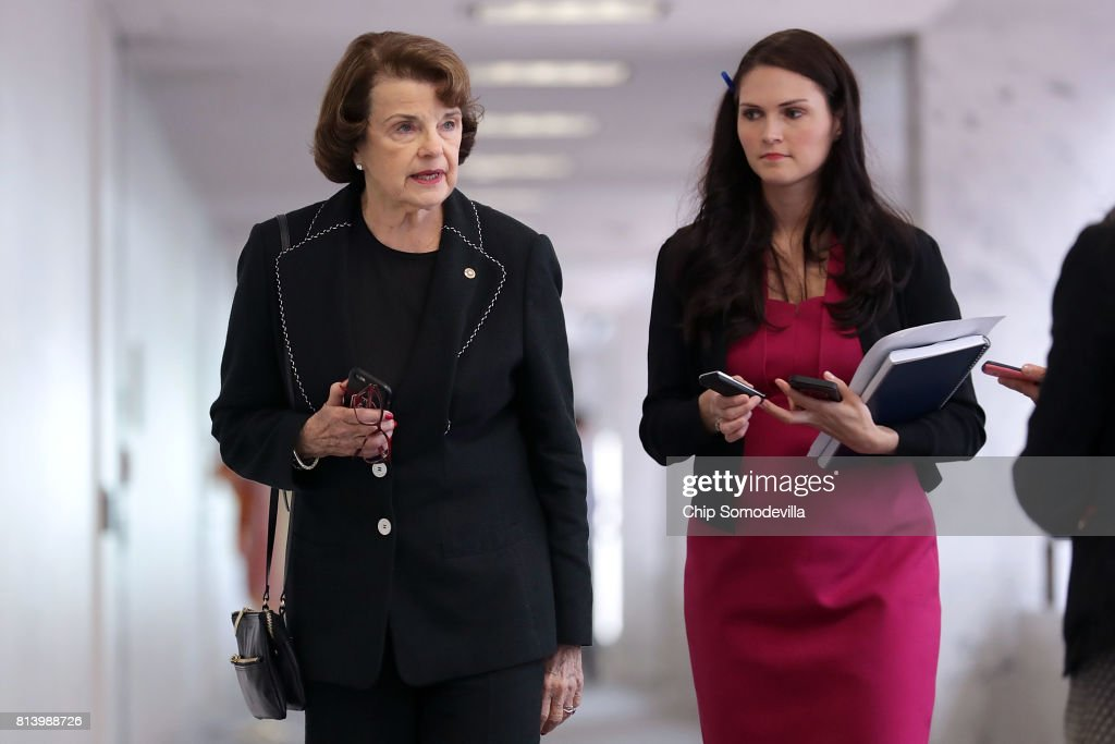 Senate Intelligence Committee member Sen. Dianne Feinstein (D-CA) arrives for a closed-door committee meeting in the Hart Senate Office Building on Capitol Hill July 13, 2017 in Washington, DC. Earlier in the week, Feinstein said that Donald Trump, Jr. should testify before the intelligence committee after it was revealed that he and Jared Kushner and Paul Manafort met with a Russian lawyer in hopes of getting opposition information on Hillary Clinton during the 2016 election.