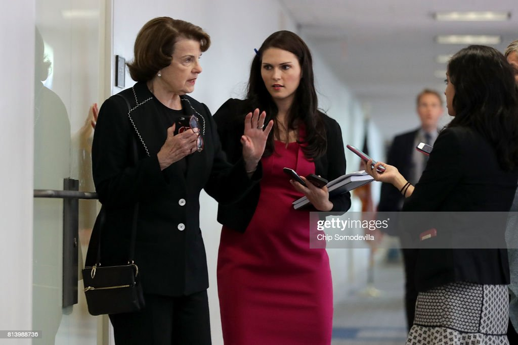 Senate Intelligence Committee member Sen. Dianne Feinstein (D-CA) turns away reporters before attending a closed-door committee meeting in the Hart Senate Office Building on Capitol Hill July 13, 2017 in Washington, DC. Earlier in the week, Feinstein said that Donald Trump, Jr. should testify before the intelligence committee after it was revealed that he and Jared Kushner and Paul Manafort met with a Russian lawyer in hopes of getting opposition information on Hillary Clinton during the 2016 election.