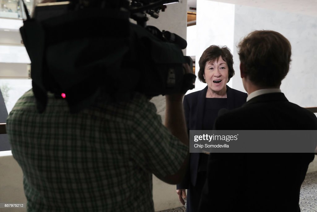 Senate Intelligence Committee member Sen. Susan Collins (R-ME) talks to reporters after leaving a closed-door hearing in the Hart Senate Office Building on Capitol Hill October 5, 2017 in Washington, DC. None of the Intelligence Committee's members had anything to say to journalists about a report that Russian government-backed hackers stole U.S. secrets on how to penetrate foreign computer networks and protect against cyberattacks after a National Security Agency contractor put highly classified information on a home computer in 2015.