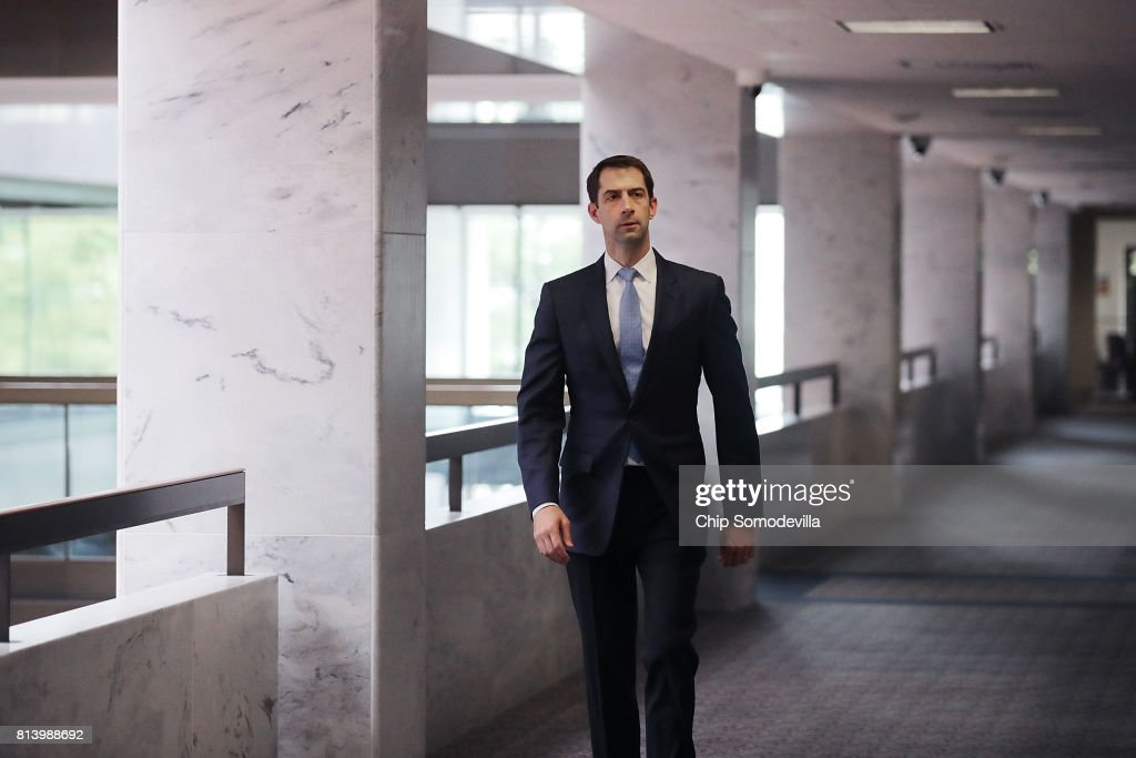 Senate Intelligence Committee member Sen. Tom Cotton (R-AR) arrives for a closed-door committee meeting in the Hart Senate Office Building on Capitol Hill July 13, 2017 in Washington, DC. Some members of the committee have demanded that Donald Trump, Jr. testify before the intelligence committee after it was revealed that he and Jared Kushner and Paul Manafort met with a Russian lawyer in hopes of getting opposition information on Hillary Clinton during the 2016 election.