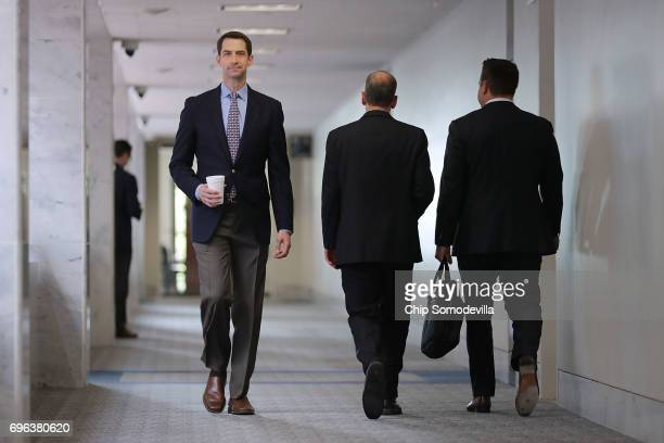 Senate Intelligence Committee member Sen Tom Cotton heads into a closeddoor committee meeting with Director of National Intelligence Dan Coats in the...