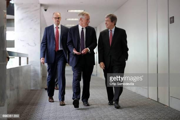 Senate Intelligence Committee members Sen Angus King and Sen Roy Blunt head into a closeddoor committee meeting with Director of National...